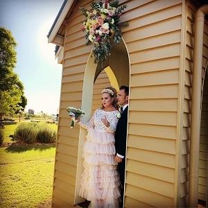 Fleur and David's wedding ceremony at Jimbour Chapel with Gwen Inglis Wedding Celebrant Brisbane