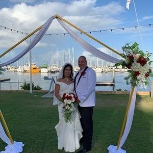 Glenn and Fe's wedding ceremony at Bay Trailer Boat Club with Gwen Inglis Wedding Celebrant Brisbane