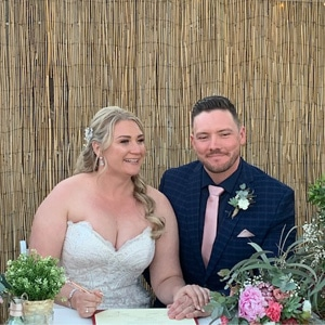 Laura and Jeremey's wedding ceremony at home with Gwen Inglis Wedding Celebrant Brisbane