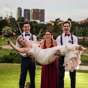 Wade and Renisse at Victoria Park Gold Complex with Gwen Inglis Wedding Celebrant Brisbane